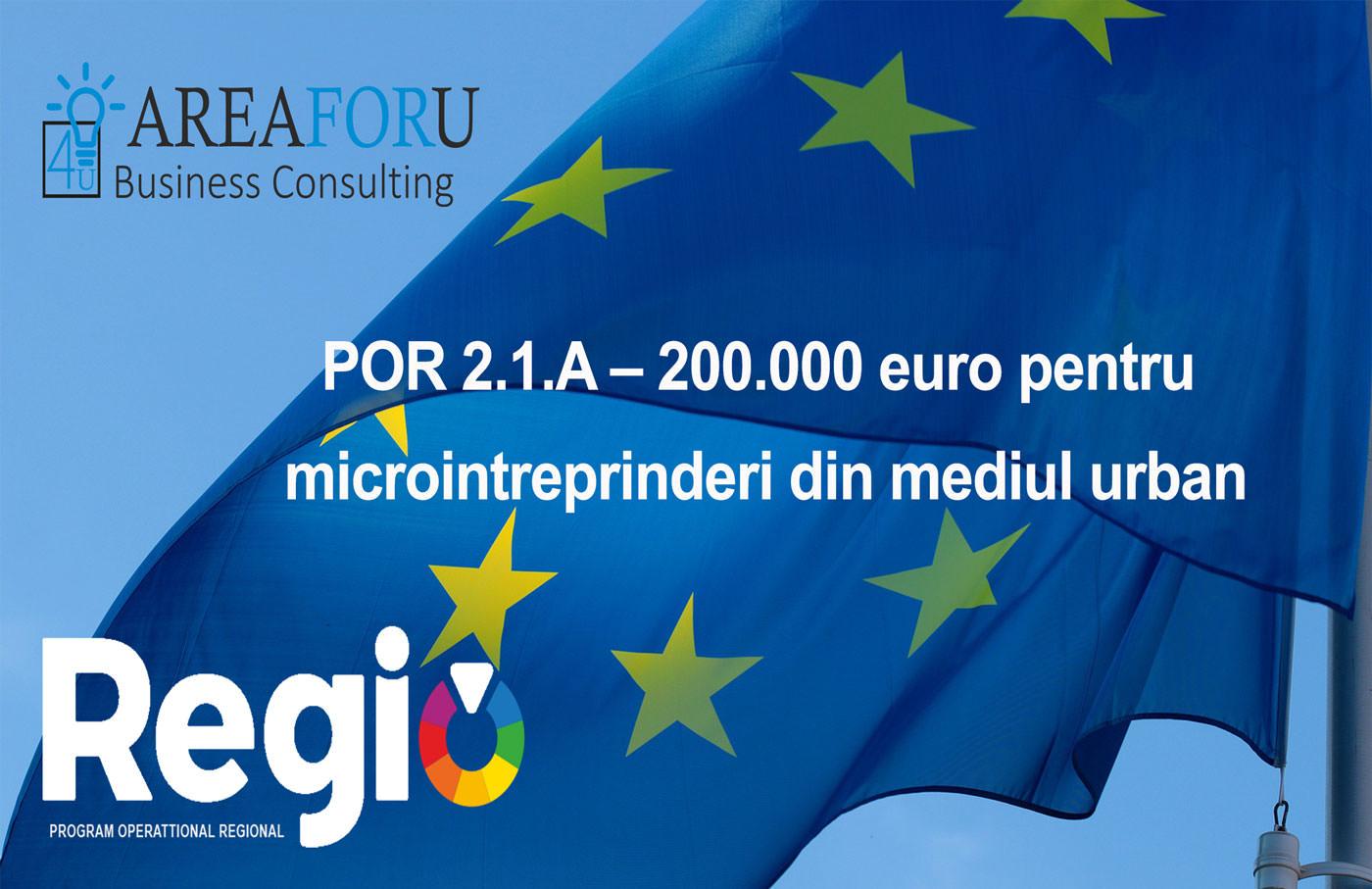 POR 2.1.A – 200.000 euro pentru microintreprinderi din mediul urban